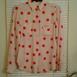 Women's XS Loft Polka Dot Dress Shirt